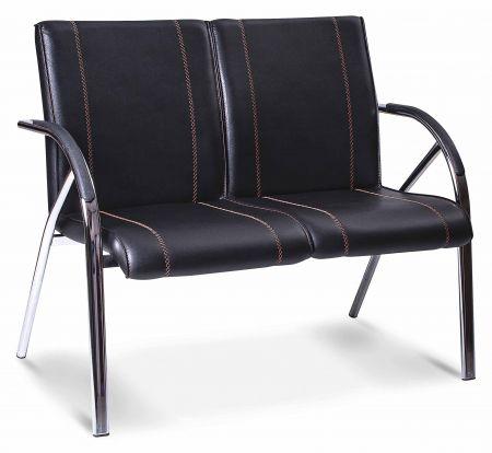 b rostuhl warteraumstuhl schwarz 3 sitzer mit metallfu und m bel star. Black Bedroom Furniture Sets. Home Design Ideas
