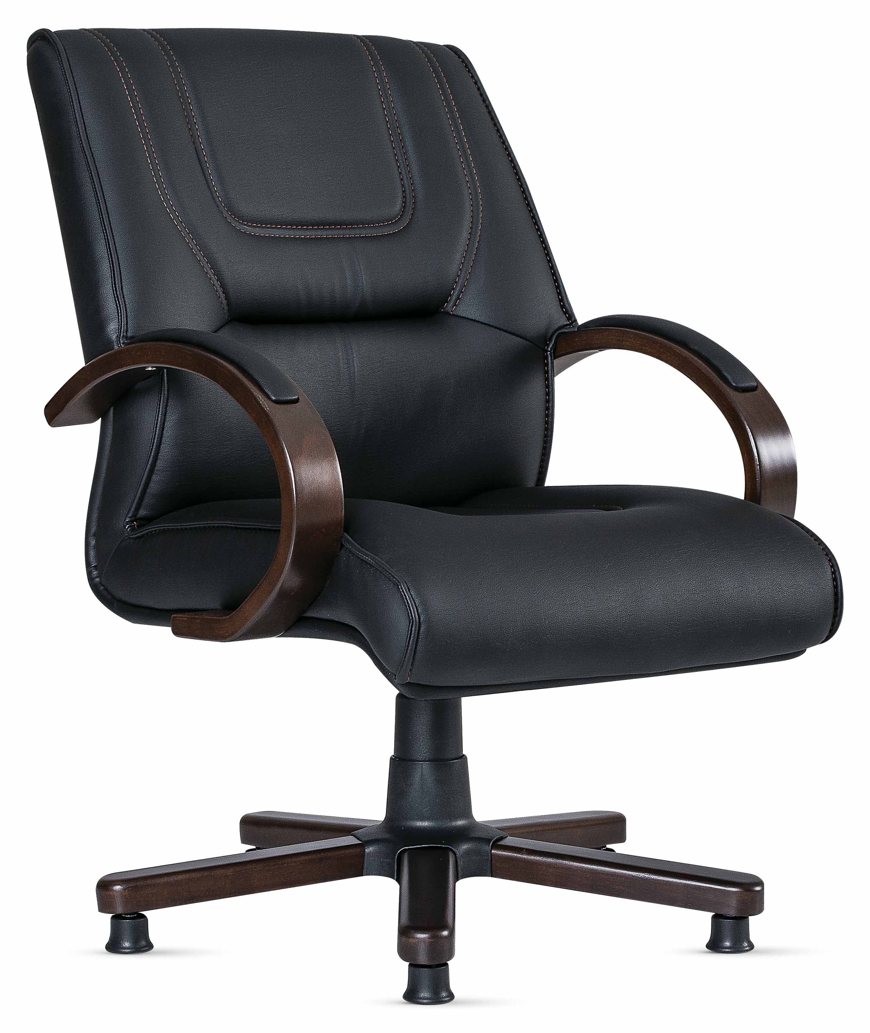 Bürosessel Baron Schwarz Mit Holz Armlehnen Günstig Kaufen Möbel Star