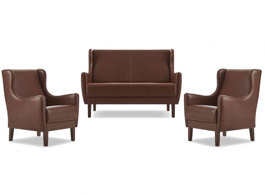 hanka sitzgruppe aus sofa und 2 sesseln in braun g nstig kaufen m bel star. Black Bedroom Furniture Sets. Home Design Ideas